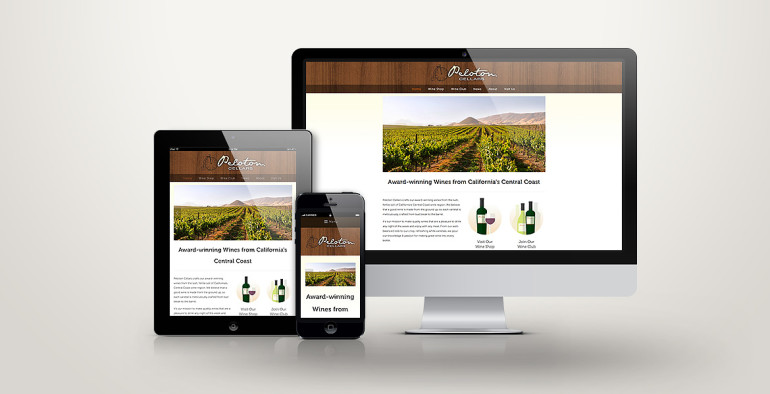 Peloton Cellars' re-designed website