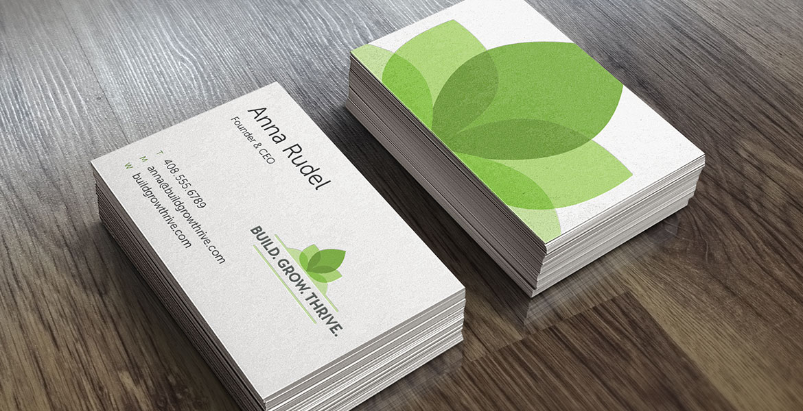 'Build. Grow. Thrive. business cards
